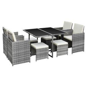 Ribelli 9-teilige Gartenmöbelset Sitzgruppe Gartenset Lounge Polyrattan Rattan Essgruppe