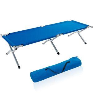 TRESKO XXL Campingbett Feldbett 190 x 64 x 44 cm Metallrohr - Belastbarkeit bis 150kg Blau