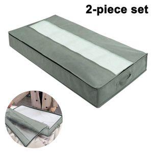 2 Stück Unterbett Aufbewahrungstasche 90L Groß Unterbettkommode Kleideraufbewahrung Atmungsaktiv Stoff Faltbare Aufbewahrung