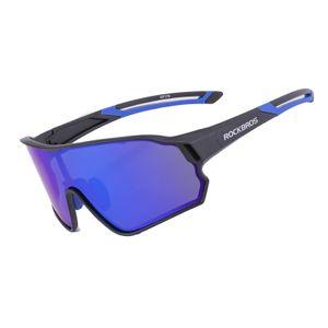 ROCKBROS Polarisiert Brille Sportsonnenbrille MTB Radbrille Outdoor Sports UV400 schwarz blau