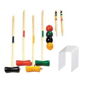 Krocket-Set für 4 mit Holzschlägeln, farbigen Bällen, stabile Tragetasche für , perfekt für Rasen, Hinterhof, Park