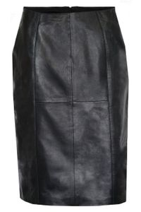Trendiger Midi Lederrock aus Lammnappa Business Rock echtleder , Größe:44, Farbe:Schwarz