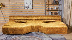 XXL Big Sofa Velvet Vintage inkl. Kissen versch. Farben KAWOLA gold TARA