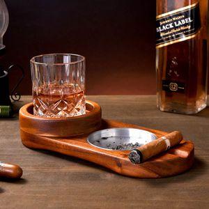 Zigarre Aschenbecher Mit Weinglas Gestell Holz Zigarren Zubehör Oval