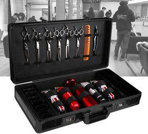 Werkzeugkoffer Barber Travel Organizer Werkzeugkasten mit Schloss Shears Clippers Trimmers Case Barber Tool Case Friseur Salon Clipper Trimmer Box Schwarz Friseurkoffer