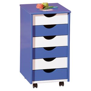 Rollcontainer Bürocontainer Container Kinderzimmer Beppo Massivholz blau weiß 6 Schubladen