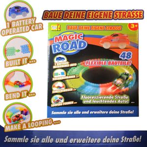 Rennstrecke Autorennbahn Auto Magic Road Flexibel Leuchtend 48 Teile Kinder