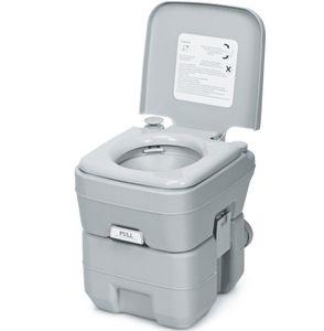 GOPLUS Campingtoilette Reisetoilette tragbare Toilette Outdoor WC mobiles WC 20L,Grau