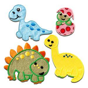 Set Dino - Aufnäher, Bügelbild, Aufbügler, Applikationen, Patches, Flicken, zum aufbügeln, Größe: verschiedene Größen