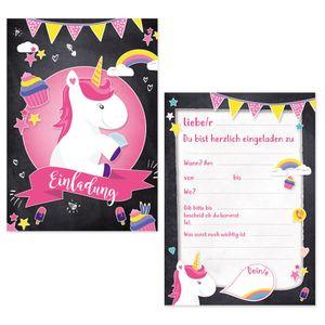 Oblique Unique 6 Einladungskarten Kindergeburtstag Einhorn Party Einladungen