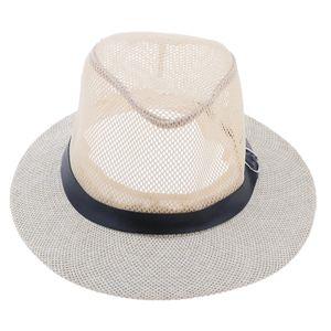 Outdoor Hut Buschhut aus Leinen Fischermütze Sonnenhut Sommerhut Cowboy Style für Herren Damen Farbe Beige