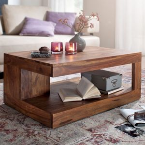 FineBuy Couchtisch Massiv-Holz 90 cm Design Wohnzimmer-Tisch dunkel-braun Landhaus-Stil Beistelltisch Farbe wählbar, Nachbildung/Front:Sheesham