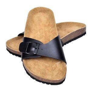 Huicheng Schwarze Unisex Biokork-Sandale mit Schnalle Größe 39