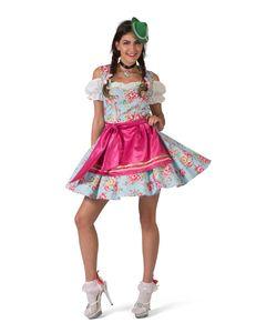 Bayerin-Kostüm für Jugendliche Dirndl-Kostüm blau-pink
