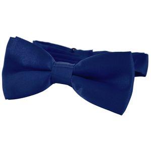 DonDon® Edle Kinder Fliege gebunden und längenverstellbar 9 x 4,5 cm dunkelblau glänzend in Seidenlook