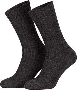 Tobeni 5 Paar Herrensocken Norwegersocken Arbeitssocken Winter Socken Wolle mit Frotteesohle ohne Gummi, Farbe:Anthrazit, Grösse:39-42