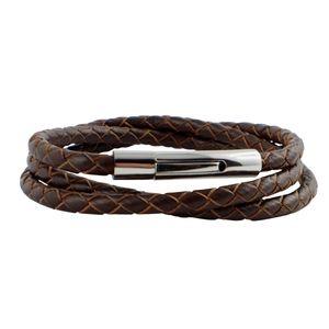 König Design Lederkette Lederband Leder-Armband 8 mm Herren Halskette 17 cm - 100 cm geflochten, Länge:23 Zentimeter, Farbe:Braun