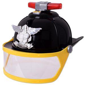 TE-Trend Kinder Feuerwehrhelm Feuerwehrmann Helm Kappe Visier Licht Sound Schwarz Kostüm Verkleidung Zubehör Spielzeug