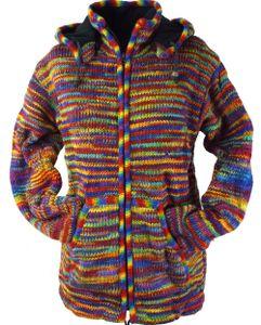 Strickjacke Wolljacke Nepaljacke - Modell 12, Herren, Mehrfarbig, Wolle, Größe: XL