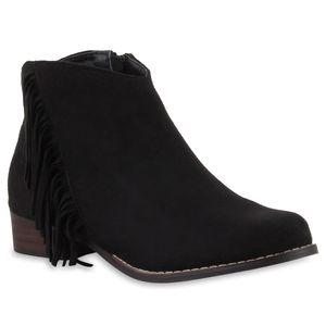Mytrendshoe Modische Damen Ankle Boots Fransen Stiefeletten 78627, Farbe: Schwarz, Größe: 36