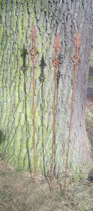 3er Set Gartenstab, Rankstab, Rosenstab, gedr. Spitze Eisen Rost,115