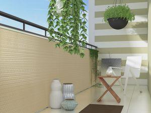 Polyrattan PVC Sichtschutzmatte 300x100 Balkon Zaun Sichtschutz Windschutz beige