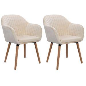 WOLTU Esszimmerstühle BH95cm-2 2er-Set Küchenstuhl Wohnzimmerstuhl Design Stuhl mit Armlehne,Samt, Massivholz, Cremeweiß
