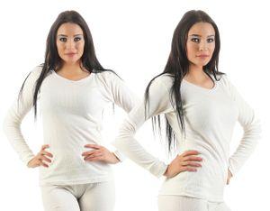 Unterwäsche Thermo, Farbe:2 Stück Damen Unterhemden wollweiß, Gr. :36/38, Materialmix:50% Baumwolle & 50% Polyester