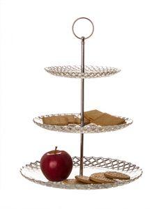 Etagere 35 cm 3 stöckig aus Glas in Diamantrauten-Muster Servierteller für Obst, Kekse   mehr