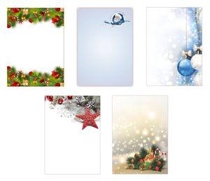 5 x 5 Blatt Motivpapier Briefpapier Mix DIN A4 Weihnachtsmann Kugeln Sterne Kristalle (Weihnachten-5229)