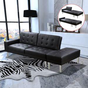 CHIC® Schlafsofa im skandinavischen Stil,Eckcouch|Polstersofa Bettsofa Lounge Sofa für Wohnzimmer Kunstleder Schwarz Größe:197 x 83 x 49 cm※2902