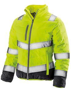Damen Soft Padded Safety Jacket  ISO EN20471:2013 Klasse 2 - Farbe: Fluorescent Yellow/Grey - Größe: M