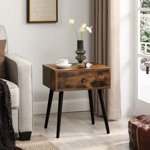 VASAGLE Nachttisch, Couchtisch mit Schublade und schrägen Beinen, Vintage-Stil, vintagebraun LET176B01