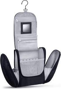 Große Premium Kulturtasche zum Aufhängen mit Spiegel, sehr geräumiger Kulturbeutel als Geschenk oder perfekt für den Urlaub, Farbe:Schwarz