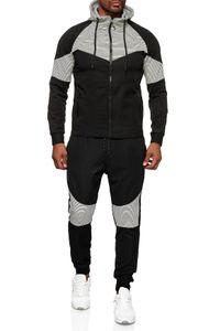 Herren Trainingsanzug Hoodie Sweater Set Casual Streetwear Gym Fashion, Farben:Schwarz-Weiß, Größe Hosen:L