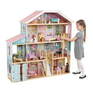 KidKraft - Grand View Wooden Doll House - 65954 - 34 Zubehörteile enthalten - für 30 cm Puppen - EZkraft Montage
