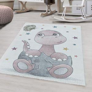 Kurzflor Teppich Rosa Dino Baby Design für Kinderzimmer Dinosaurier , Farbe:Pink, Grösse:160x230 cm