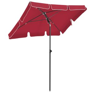 SONGMICS Sonnenschirm 200 x 125 cm, UV-Schutz bis UPF 50+, Gartenschirm, knickbar, Schirmtuch mit PA-Beschichtung, ohne Ständer, Rot GPU025R01