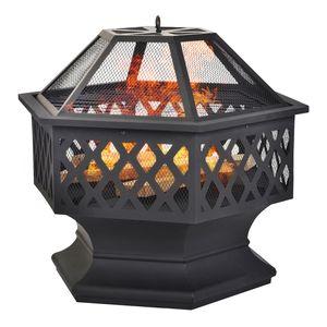 Merax Feuerschale sechseckig Feuerstelle mit Grillrost,  Edelstahl Feuerkorb mit Funkenschutz Fire Pit für BBQ, Heizung, Garten Terrasse Metall Feuerkorb 3 in 1