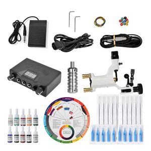 Komplettes Tattoo-Kit Pro Tattoo-Maschinen-Kit Rotationsnetzteil Farbtinten 12-Farben-Rad-Kartenpapier