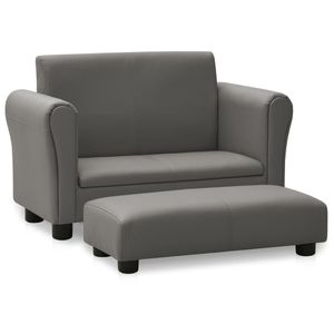 Modern Kindersofa Kindersessel Sofa Couch Kinder Stuhl Skandinavische & Komfortabel mit Hocker Grau Kunstleder🦄9103
