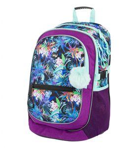Baagl Schulrucksack für Mädchen - Schulranzen für Kinder mit ergonomisch geformter Rücken, Brustgurt und reflektierende Elemente (Jungle)