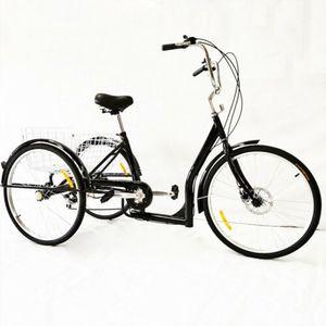 26 Zoll 3 Rad Fahrrad 6 Gang Dreirad Citybike Cityrad Trike Cruise Bike Sattel Tricycle mit Korb für Erwachsene