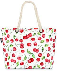 VOID Sommer Kirschen Strandtasche Shopper 58x38x16cm 23L XXL Einkaufstasche Tasche Reisetasche Beach Bag