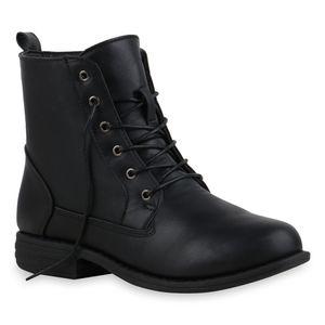 Mytrendshoe Damen Schnürstiefeletten Leicht Gefütterte Stiefeletten Schuhe 835644, Farbe: Schwarz PU, Größe: 38