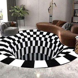 Sunnyme 3D Illusion Teppich, Optischer Täuschungsteppich Teppich für Wohnzimmer Schlafzimmer Flur Läufer Esszimmer 120 x 120 cm