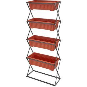 tectake Vertikalbeet mit 4 Kästen - braun