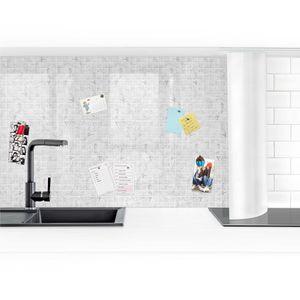 Küchenrückwand - Mosaikfliese Mamoroptik Bianco Carrara, Größe HxB:70cm x 50cm, Ausführung:Smart Glanz
