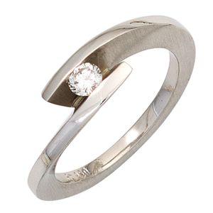 JOBO Damen Ring 950 Platin teilmattiert 1 Diamant Brillant 0,15ct. Platinring Größe 58