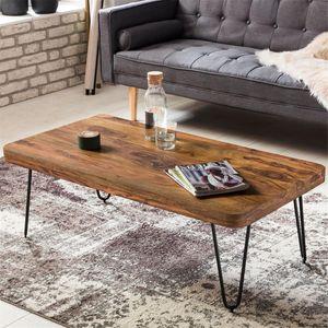 Couchtisch Massiv-Holz Sheesham 115 cm breit Wohnzimmer-Tisch Design Metallbeine Landhaus-Stil Beistelltisch B/H/T ca. 115/40/60cm
